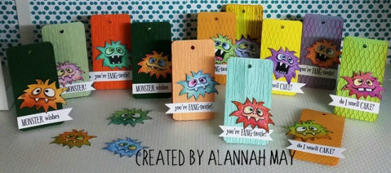 multiple paper craft 4017 tags with monster heads