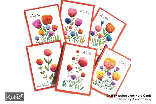 2H2559 Watercolour Note Cards