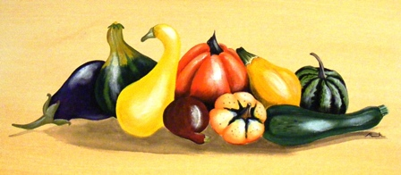 image of painting of folkart fruit and veg by Alannah May Faget