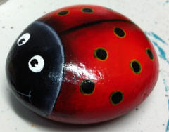 image of AlannahMay'd ladybird pet rock gifted to Artrageous Community Arts & Craft Centre