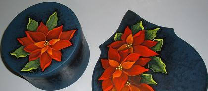 image of AlannahMay'd red poinsettia folkart hairdryer holder and round box