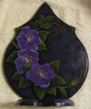 image of AlannahMay'd folkart hairdryer holder c curve green leaves with purple flowers