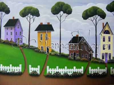 image of 4 houses with white picket fence, an AlannahMay'd folkart village